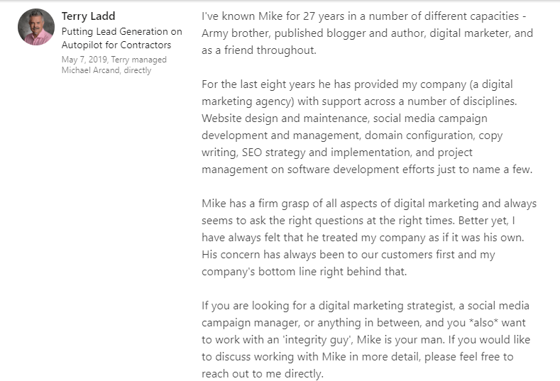 LinkedIn recommendation by Terry Ladd at Pink Iguana Services